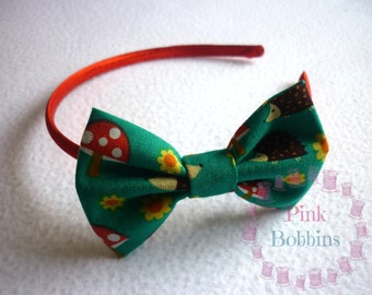 Hedgehog bow hairband - hedgehog/toadstool/flower hairband/Alice band/headband - autumn hairband - woodland hairband - hair bow