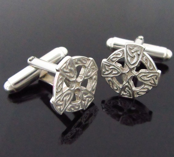 Celtic Cross Cuff Links - Sterling Silver Cufflinks - Designed and Made in Ireland - Mens Jewelry - wedding Jewelry - Father's Day