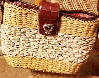 Vintage authentic Brighton straw and leather handbag purse shoulderbag accessory