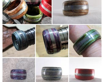 Wooden Ring - Aluminum Inlay (Silver)