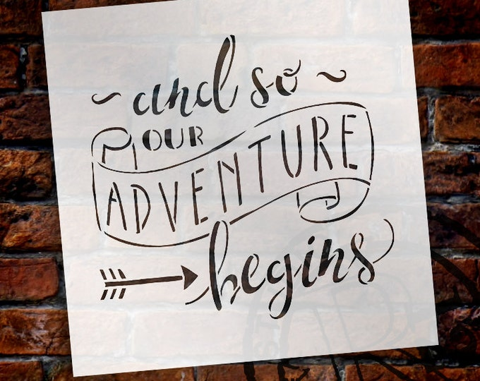 Featured listing image: And So Our Adventure Begins - Word Art Stencil - Select Size - STCL1588 - by StudioR12