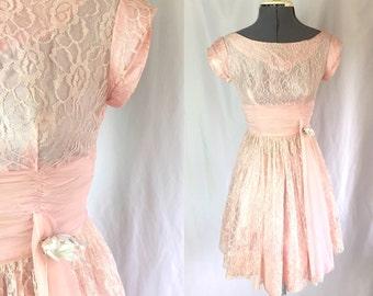 Xxs ** 1950s LIGHT PINK lace chiffon dress ** vintage fifties prom dress