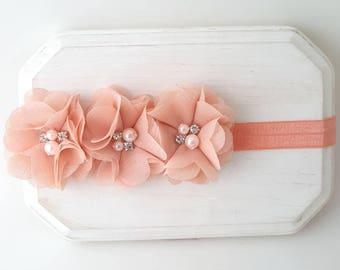 Triple Peach Flower Headband - Infant  Headband - Flower Girl Headband - Peach Headband - Baby Headband - Peach Bows