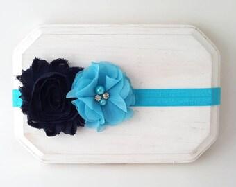 Baby Girl Headbands - Navy Blue and Turquoise Headband - Newborn Headbands - Navy Blue Headband - Infant Headbands - Flower Girl Headband