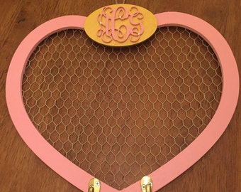 Monogrammed Hair Bow Holder Personalized Hair Bow Organizer Pink & Gold Wood Bow Holder