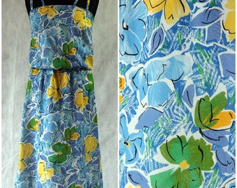 Vintage 1980s Floral Boho Summer Festival Beach Party Dress Blue Green 8 small