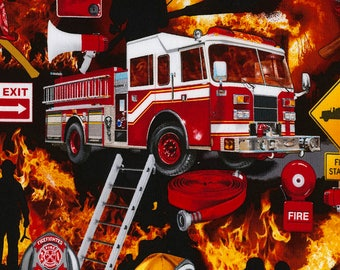Fire Fighter Collage-BTY-Timeless Treasures-Fire Truck-Flames-Ladder-Hose-Helmet