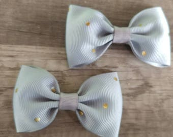 Gray and gold polka dots pigtail bows