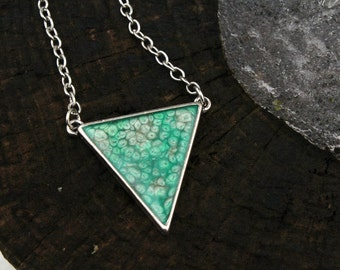 Green Triangle Pendant | Handpainted