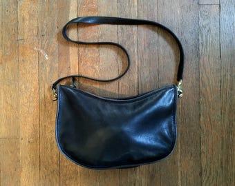 Vintage COACH 410-5614 Black Leather Shoulder Strap PURSE Tote Bag EUC Boho Mod Clutch