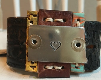 The • pieces of me • ND love handstamped Leather cuff