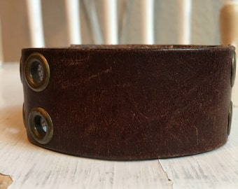 The Riveted Chocolate Brown Leather Cuff