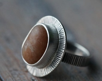 Beach pebble and sterling silver ring, size 8, natural stone, organic jewellery, uncut stone, unique handmade ring, big statement ring