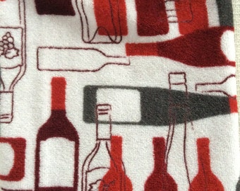 Hand crocheted wine bottle themed double hanging kitchen towel
