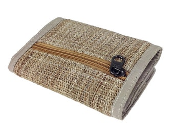 Natural Color Hemp and Nettle Trifold Wallet, Unisex Hippie Wallet Handmade. Makes a Great Gift.