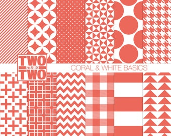 "Coral Digital Paper: ""CORAL & WHITE PATTERNS"" Diamond, Houndstooth, Plus Sign, Plaid, Polka Dot, Striped Retro Geometric Background"