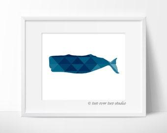 Blue Whale Print: Triangle Geometric, Digital Printable Art for Beach, Nautical Nursery, Kids Room, Bathroom Decor
