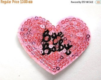 HALF PRICE Embroidered Pink Bye Baby Heart Appliqué Sequins