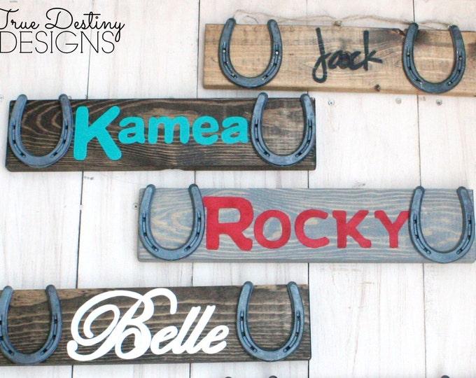 Four Custom Personalized Barn Signs - Design Your Own Personalized Horse Name Sign - Stable sign, rustic horse decor, horseshoe, TDD22-4