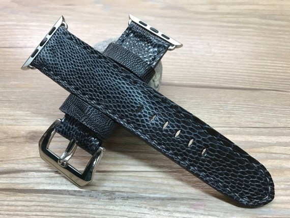 Apple Watch Band, Apple Watch Strap, handmade Black Hawk leg skin leather watch Strap, New Year gift for him, Apple Watch 38mm & 42mm