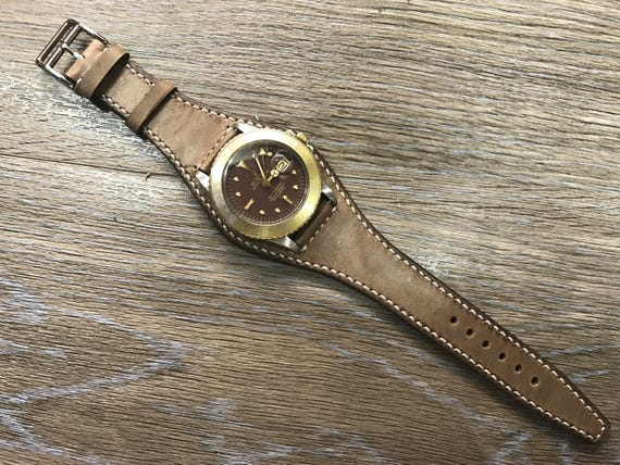 Handmade Real Leather cuff strap | Leather Cuff watch band | Cuff Band | Vintage Brown Leather Cuff watch Strap for all Rolex IWC 20mm lug