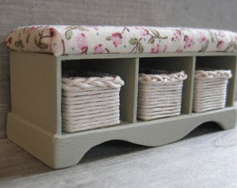 1/12th Scale Storage Storage Bench with Baskets - Green / Floral