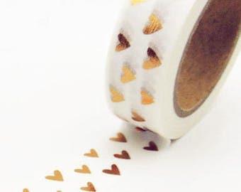 Gold / rose gold foil hearts washi tape