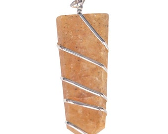 Golden Agate Flat Healing Stone Sterilng Silver Pendant With Wire Wrapped Pendant by WholesaleGemShop with Free Shipping