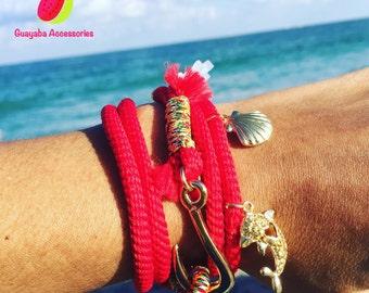 Ocean Bracelet. Red Bracelet. Handmade Red Bracelet