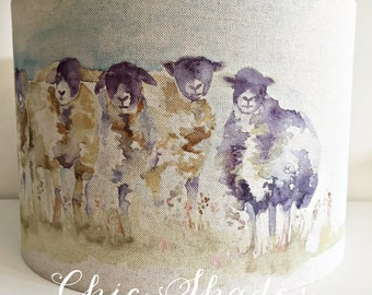 Country Sheep Linen Fabric Lampshade
