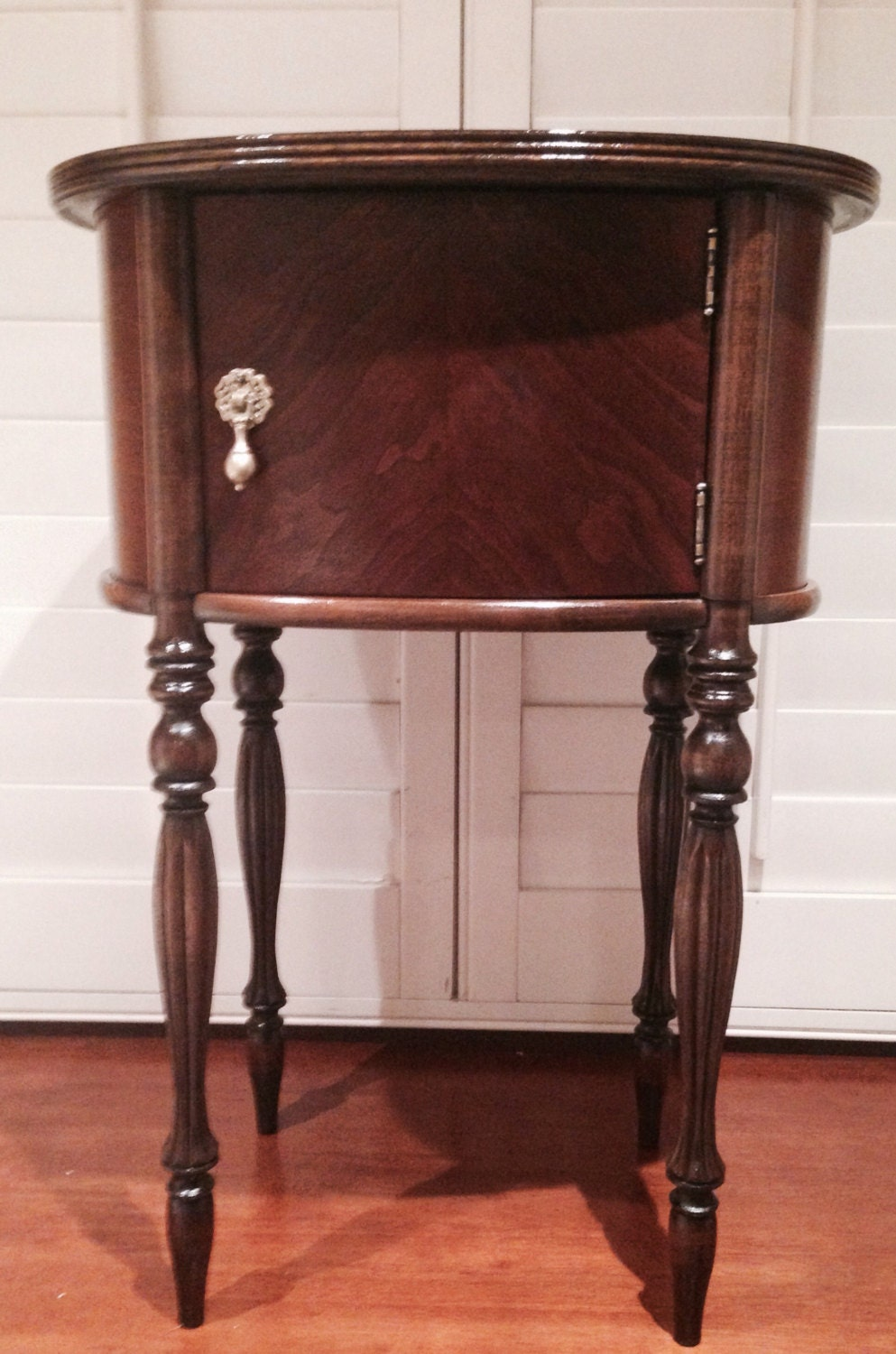 Antique wood humidor side table