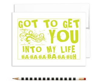 romantic cards, lyrical cards, got to get you into my life, beatles tunes, romantic cards | A6-841