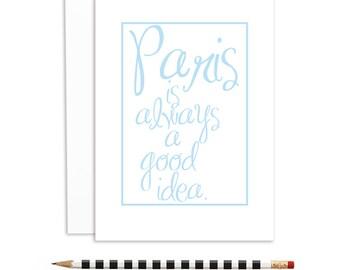 romantic cards, travel cards, paris cards, travel cards, Paris is always a good idea   A-854