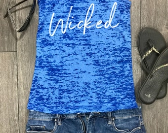 wicked burnout racerback tank, stylish tank, beach tank, womens tank top, tank top, workout tank, fitness tank, shenanigans, swanky