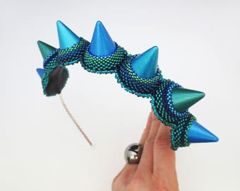colorful headpiece, spikes jewelry, blue headband, unique gift for her, colorful crown - clothing gift -