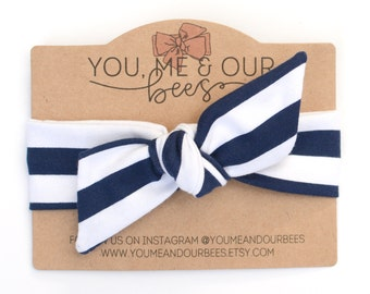 Navy & White Fabric Headwrap; Navy Blue and White Striped Stretch Fabric Baby Headwrap; Top Knot Baby Headband