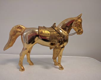 Gold Cast Metal Horse Statuette with Removable Saddle