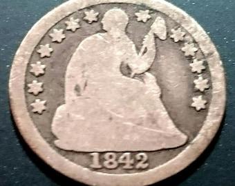 Vintage 1842 Circulated Grade Civil War Era Seated Liberty Half Dime silver original antique  piece authentic U.S. Coin 1.00 Ship