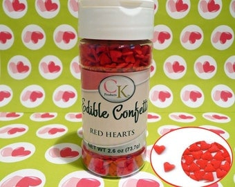 Red Hearts 2.6 oz.  Edible Confetti Sprinkles Cake Pops Cupcake Cookies Ice Cream Valentines Wedding Quins