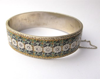Immaculate Antique Portuguese Silver Gilt and Enamel Bangle