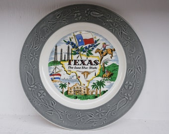 Vintage Wall Plate of Texas - The Lone Star State - Souvenir