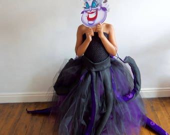 Girl's Ursula inspired Seawitch Costume,Villain, Halloween Party Age 3 up to 12 yrs