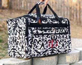 Monogrammed Damask DUFFLE Bag, Black Damask Duffle, Floral Duffle, Women Weekender, Damask Luggage, Monogrammed Gifts, Airline Carryon