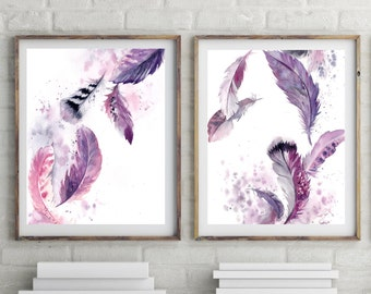 Feathers art, Prints Set of 2,  purple feathers watercolor painting, watercolor print, fine art print, home decor