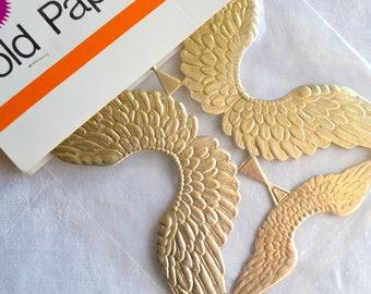 Vintage Gold Paper Angel Wings - Sturdy Die Cut Embossed - Zims NOS