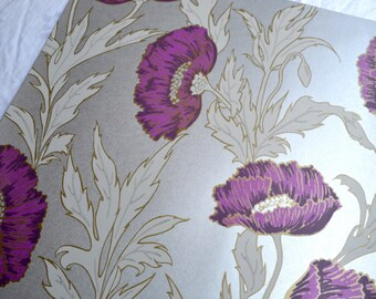 Wallpaper - Cole and Son  Sample Sheet  - 19 x 17  Purple Poppy on Silver
