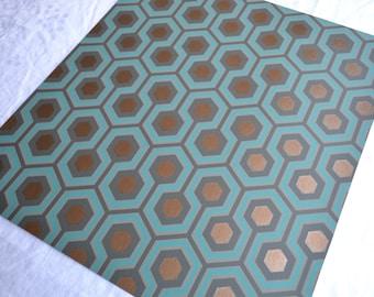 Wallpaper - Cole and Son  Sample Sheet  - 19 x 17  Hicks Hexagon - Mod Geometric Green Teal Gold