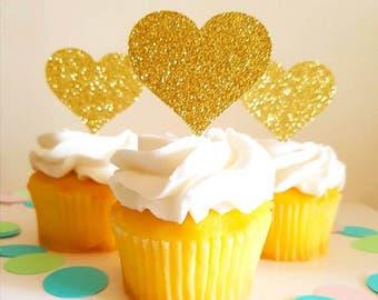 Gold Glitter Heart Cupcake Toppers Gold Heart Toppers Heart Cupcake Party Picks Gold Glitter Toppers