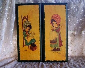 1970's Wall art Big eyed girls Prairie Girl prints on wood Signed Ward Girl wearing bonnet with cat and book Girl with birdcage Big eyed kid