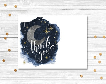 Love you to the moon and back thank you card, Moon and Back Thank you Card, Printable Thank You Card, Thank You, Moon, Stars, Motif Visuals